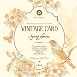 Spring floral vector vintage card