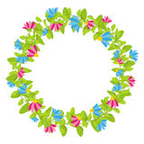 Spring floral wreath with red and blue blooms  vector. Spring floral wreath with red and blue blooms Royalty Free Stock Photos