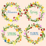 Spring floral wreaths with field flowers and herbs Royalty Free Stock Photo