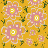 Spring floral yellow pattern illustration Royalty Free Stock Images
