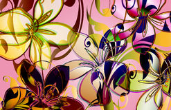 Spring florall. Tropical floral design with layered viney scrolls and translucent elements Royalty Free Stock Photo
