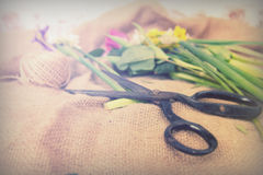 Spring flower arrangement against a rustic background Royalty Free Stock Image