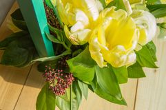 Spring flower arrangement in a green wooden box, tulips, eustoma.  Stock Images