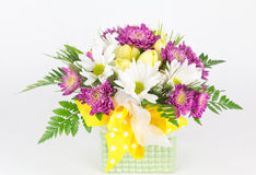 Spring flower arrangement in vase Stock Images