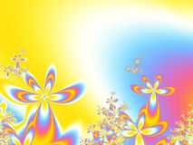 Spring flower background. A fractal background consisting of flowers in various sizes on a palette of yellow,blue,white,pink,orange and purple Royalty Free Illustration