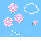 Spring flower background with bird Royalty Free Stock Photo