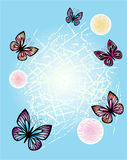 Spring flower background with butterflies. Abstract decorative royalty free illustration