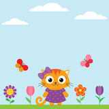 Spring flower background with butterflies Stock Photography
