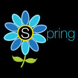 Spring with Flower Background Icon Stock Photo