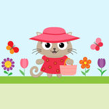 Spring flower background with kitty Stock Image