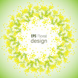 Spring Flower background with wreath of Mimosa Stock Photo