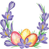 Spring flower banner of crocuses and easter eggs. Watercolor Background Stock Photo