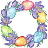 Spring flower banner of crocuses and easter eggs. Watercolor Background Royalty Free Stock Photos