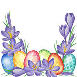 Spring flower  banner of crocuses and easter eggs. Watercolor Background Stock Images