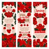 Spring flower banner with red rose floral wreath. Spring flower festive banner set for Springtime holiday themes design. Red blossom of garden rose plant, floral Stock Photos