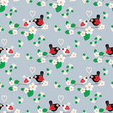 Spring flower with bird seamless pattern. Stock Photography