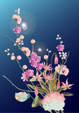 Spring flower bouquet on blue background Royalty Free Stock Photos