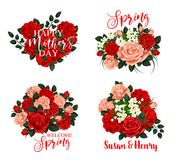 Spring flower icon for Mother Day and wedding card. Spring flower bouquet icon for Mother Day, Springtime holiday and wedding invitation template. Red and pink Stock Photos