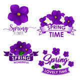 Spring flower bouquet isolated symbol set. Flowers of violet and jasmine with green leaf and ribbon banner. Floral icon for springtime holidays design Stock Image