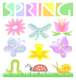 Spring Flower and Bug Set/eps. Colorful illustrations of spring flowers and insects along with a Spring headline Royalty Free Stock Photo