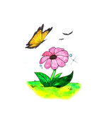 Spring Flower and Butterfly (2008) Royalty Free Stock Image