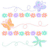 Spring Flower Butterfly Borders/eps. Colorful illustrations of daisies, butterflies and a dragonfly...can be used separately as borders Stock Photo