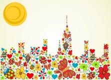 Spring time city skyline background vector illustration