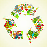 Springtime green recycle icon Stock Photography