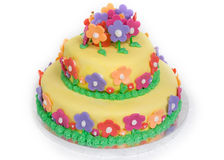 Spring Flower Cake on White Royalty Free Stock Images