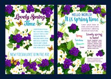 Spring flower card with floral frame and butterfly. Spring flower banner set with floral frame and butterfly for Springtime holiday themes design. Blooming Stock Photography