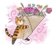 Spring flower cat Royalty Free Stock Photos