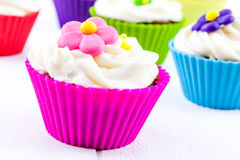 Spring Flower Cupcakes Stock Photos