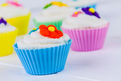 Spring Flower Cupcakes Royalty Free Stock Photography
