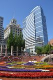 Spring Flower Display in Pioneer Courthouse Square, Portland, Oregon. This is a colorful display of spring flowers in Portland, Oregon`s Pioneer Square Stock Images