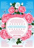 Spring flower frame for springtime holidays poster Stock Image