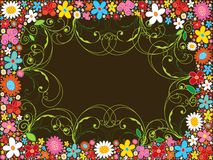 Spring flower frame and swirls Stock Images