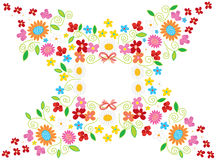 Spring Flower Frame White Stock Photo