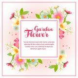Spring flower garden square vector illustration