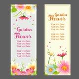 Spring flower garden vertical banner. Two spring flower garden vertical banner Royalty Free Stock Image