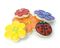 Spring Flower Gourmet Cookies. Freshly Baked Spring Flower Gourmet Cookies Royalty Free Stock Photos