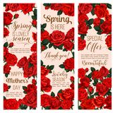 Spring flower greeting card for Mother Day holiday. Spring flower greeting banner for Mother Day and Springtime Season holiday template. Red blossom of garden Stock Photography