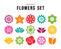 Spring flower icon set with colorful flat designs Royalty Free Stock Photography