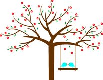 Spring flower love tree. Two love birds sitting on a tree in the spring and looking at each other Stock Image