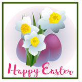 Spring flower narcissus for Happy Easter Stock Photo