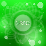 Spring in flower over green background with white dots Royalty Free Stock Photo
