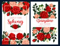 Spring flower poster for Mother Day greeting card. Spring flower festive poster for Mother Day and Springtime season holiday greeting card template. Floral Stock Images