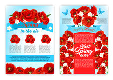 Spring flower poster for springtime holiday design. Spring flower greeting poster template set. Spring flowers bunch with ribbon banner and butterfly with text Stock Image