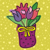 Spring Flower In Pot,  On Background With Hearts, Vector Illustration. Stock Photography