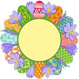 Spring flower round frame and easter eggs. Vector elements isolated. Background for design of cards to the Easter. Spring flower round frame and easter eggs Royalty Free Stock Photos