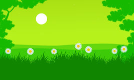 Spring with flower of silhouette landscape. Vector art Stock Image